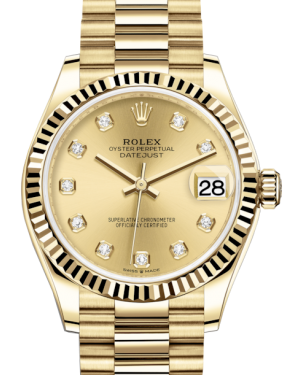 Rolex Lady-Datejust 31 Yellow Gold Champagne Diamond Dial & Fluted Bezel President Bracelet 278278 - Fresh
