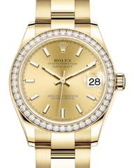 Rolex Lady-Datejust 31 Yellow Gold Champagne Index Dial & Diamond Bezel Oyster Bracelet 278288RBR - Fresh