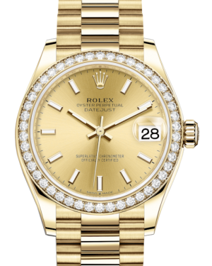 Rolex Lady-Datejust 31 Yellow Gold Champagne Index Dial & Diamond Bezel President Bracelet 278288RBR - Fresh