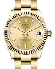 Rolex Lady-Datejust 31 Yellow Gold Champagne Index Dial & Fluted Bezel Oyster Bracelet 278278 - Fresh
