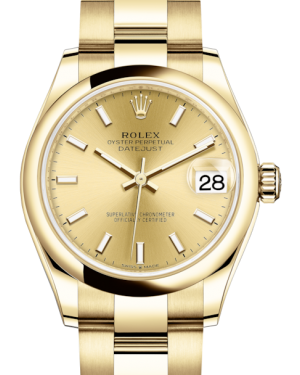 Rolex Lady-Datejust 31 Yellow Gold Champagne Index Dial & Smooth Domed Bezel Oyster Bracelet 278248 - Fresh