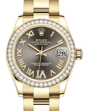 Rolex Lady-Datejust 31 Yellow Gold Dark Grey Roman Diamond VI Dial & Diamond Bezel Oyster Bracelet 278288RBR - Fresh