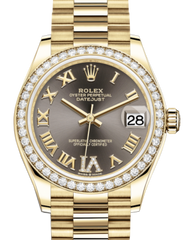 Rolex Lady-Datejust 31 Yellow Gold Dark Grey Roman Diamond VI Dial & Diamond Bezel President Bracelet 278288RBR - Fresh