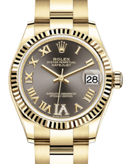 Rolex Lady-Datejust 31 Yellow Gold Dark Grey Roman Diamond VI Dial & Fluted Bezel Oyster Bracelet 278278 - Fresh