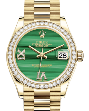 Rolex Lady-Datejust 31 Yellow Gold Malachite Roman Diamond VI Dial & Diamond Bezel President Bracelet 278288RBR - Fresh