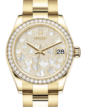 Rolex Lady-Datejust 31 Yellow Gold Mother of Pearl Butterfly Diamond Paved Dial & Diamond Bezel Oyster Bracelet 278288RBR - Fresh