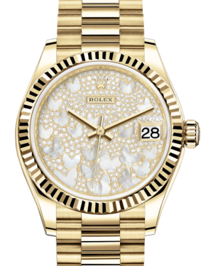 Rolex Lady-Datejust 31 Yellow Gold Mother of Pearl Butterfly Diamond Paved Dial & Fluted Bezel President Bracelet 278278 - Fresh