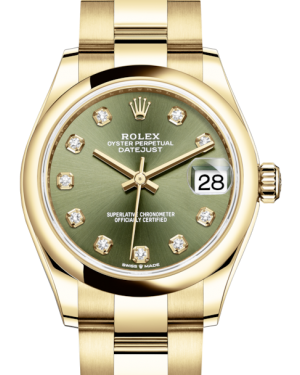 Rolex Lady-Datejust 31 Yellow Gold Olive Green Diamond Dial & Smooth Domed Bezel Oyster Bracelet 278248 - Fresh