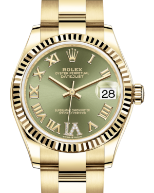 Rolex Lady-Datejust 31 Yellow Gold Olive Green Roman Diamond VI Dial & Fluted Bezel Oyster Bracelet 278278 - Fresh