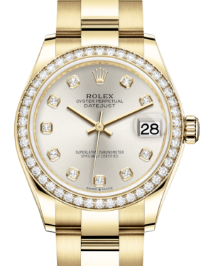 Rolex Lady-Datejust 31 Yellow Gold Silver Diamond Dial & Diamond Bezel Oyster Bracelet 278288RBR - Fresh