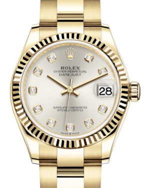 Rolex Lady-Datejust 31 Yellow Gold Silver Diamond Dial & Fluted Bezel Oyster Bracelet 278278 - Fresh