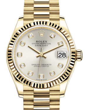 Rolex Lady-Datejust 31 Yellow Gold Silver Diamond Dial & Fluted Bezel President Bracelet 278278 - Fresh