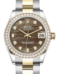 Rolex Lady-Datejust 31 Yellow Gold/Steel Black Mother of Pearl Diamond Dial & Diamond Bezel Oyster Bracelet 278383RBR - Fresh