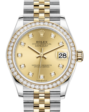 Rolex Lady-Datejust 31 Yellow Gold/Steel Champagne Diamond Dial & Diamond Bezel Jubilee Bracelet 278383RBR - Fresh