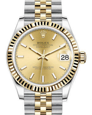 Rolex Lady-Datejust 31 Yellow Gold/Steel Champagne Index Dial & Fluted Bezel Jubilee Bracelet 278273 - Fresh