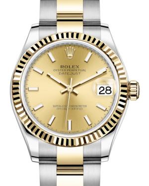 Rolex Lady-Datejust 31 Yellow Gold/Steel Champagne Index Dial & Fluted Bezel Oyster Bracelet 278273 - Fresh - NY WATCH LAB