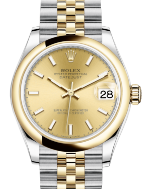 Rolex Lady-Datejust 31 Yellow Gold/Steel Champagne Index Dial & Smooth Domed Bezel Jubilee Bracelet 278243 - Fresh
