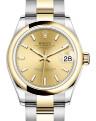 Rolex Lady-Datejust 31 Yellow Gold/Steel Champagne Index Dial & Smooth Domed Bezel Oyster Bracelet 278243 - Fresh - NY WATCH LAB