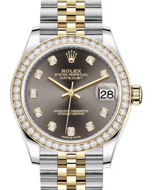 Rolex Lady-Datejust 31 Yellow Gold/Steel Dark Grey Diamond Dial & Diamond Bezel Jubilee Bracelet 278383RBR - Fresh