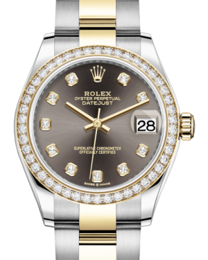 Rolex Lady-Datejust 31 Yellow Gold/Steel Dark Grey Diamond Dial & Diamond Bezel Oyster Bracelet 278383RBR - Fresh