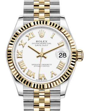 Rolex Lady-Datejust 31 Yellow Gold/Steel White Roman Dial & Fluted Bezel Jubilee Bracelet 278273 - Fresh