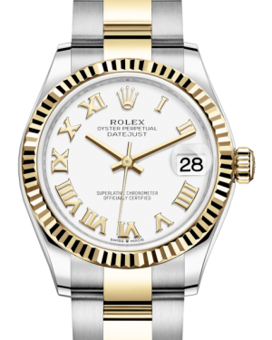 Rolex Lady-Datejust 31 Yellow Gold/Steel White Roman Dial & Fluted Bezel Oyster Bracelet 278273 - Fresh