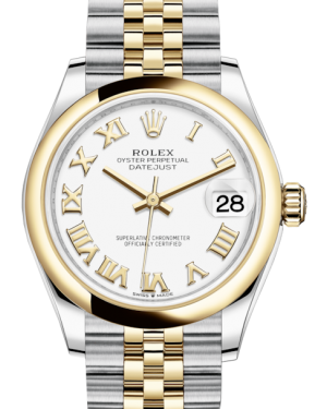 Rolex Lady-Datejust 31 Yellow Gold/Steel White Roman Dial & Smooth Domed Bezel Jubilee Bracelet 278243 - Fresh