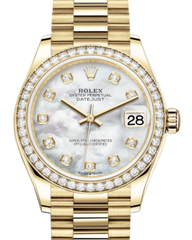 Rolex Lady-Datejust 31 Yellow Gold White Mother of Pearl Diamond Dial & Diamond Bezel President Bracelet 278288RBR - Fresh