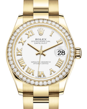 Rolex Lady-Datejust 31 Yellow Gold White Roman Dial & Diamond Bezel Oyster Bracelet 278288RBR - Fresh