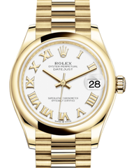 Rolex Lady-Datejust 31 Yellow Gold White Roman Dial & Smooth Domed Bezel President Bracelet 278248 - Fresh