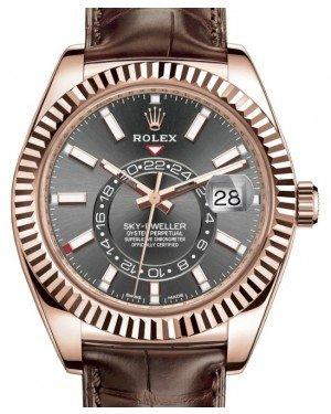 Rolex Sky-Dweller Rose Gold Dark Rhodium Index Dial Fluted Bezel Leather Strap 326135 - Fresh