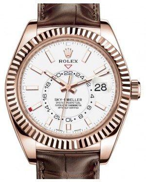 Rolex Sky-Dweller Rose Gold White Index Dial Fluted Bezel Leather Strap 326135 - Fresh