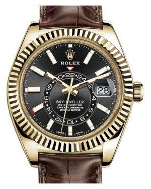 Rolex Sky-Dweller Yellow Gold Black Index Dial Fluted Bezel Leather Strap 326138 - Fresh