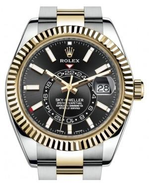 Rolex Sky-Dweller Yellow Gold/Steel Black Index Dial Fluted Bezel Oyster Bracelet 326933 - Fresh