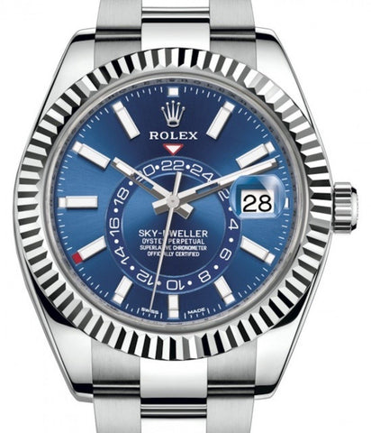 Rolex Sky-Dweller Stainless Steel Blue Index Dial Fluted White Gold Bezel Oyster Bracelet 326934 - Fresh
