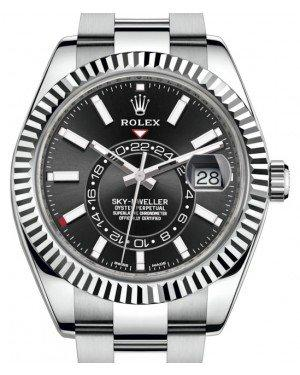 Rolex Sky-Dweller Stainless Steel Black Index Dial Fluted White Gold Bezel Oyster Bracelet 326934 - Fresh
