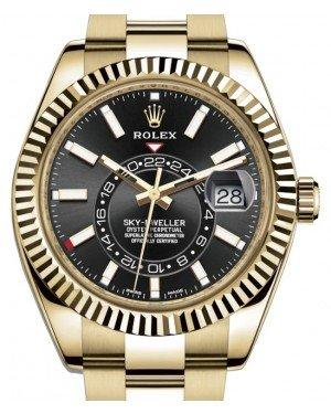 Rolex Sky-Dweller Yellow Gold Black Index Dial Fluted Bezel Oyster Bracelet 326938 - Fresh