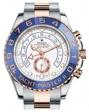 Rolex Yacht-Master II 116681 Blue Ceramic 18k Rose Gold Mercedes Hands Stainless Steel Fresh
