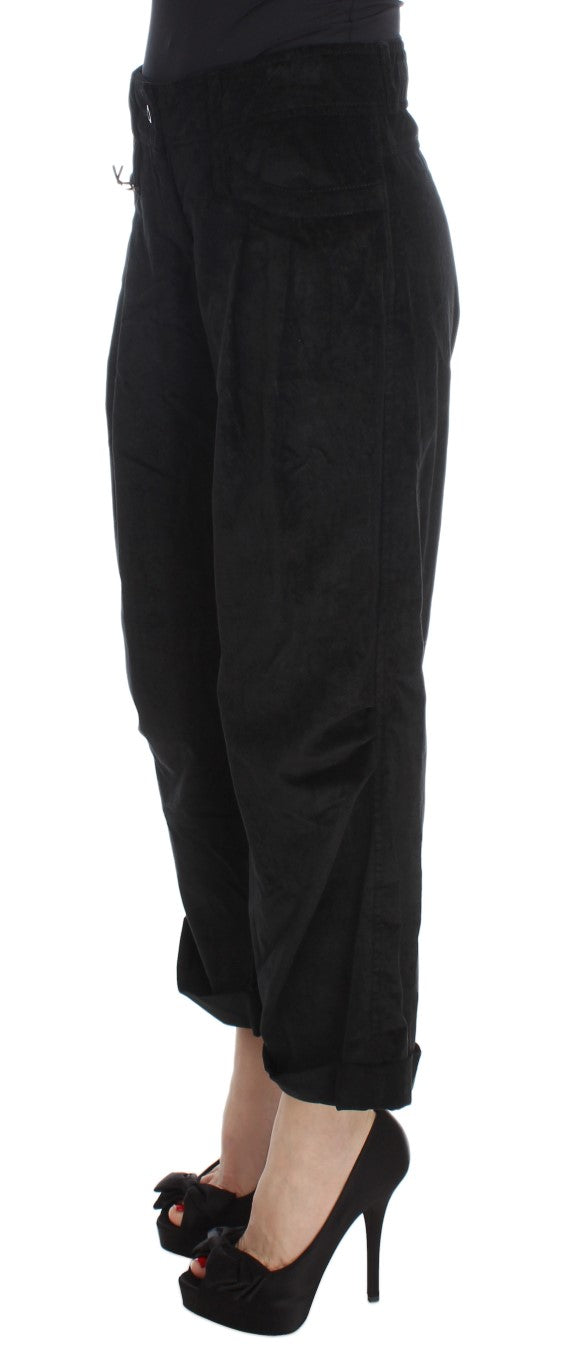Black Velvet Cotton Capri Bootcut Pants