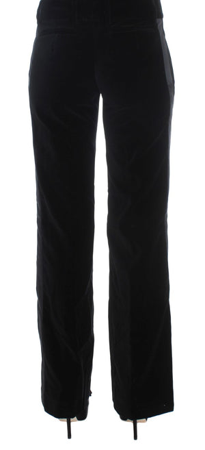Black Striped Velvet Viscose Bootcut Pants