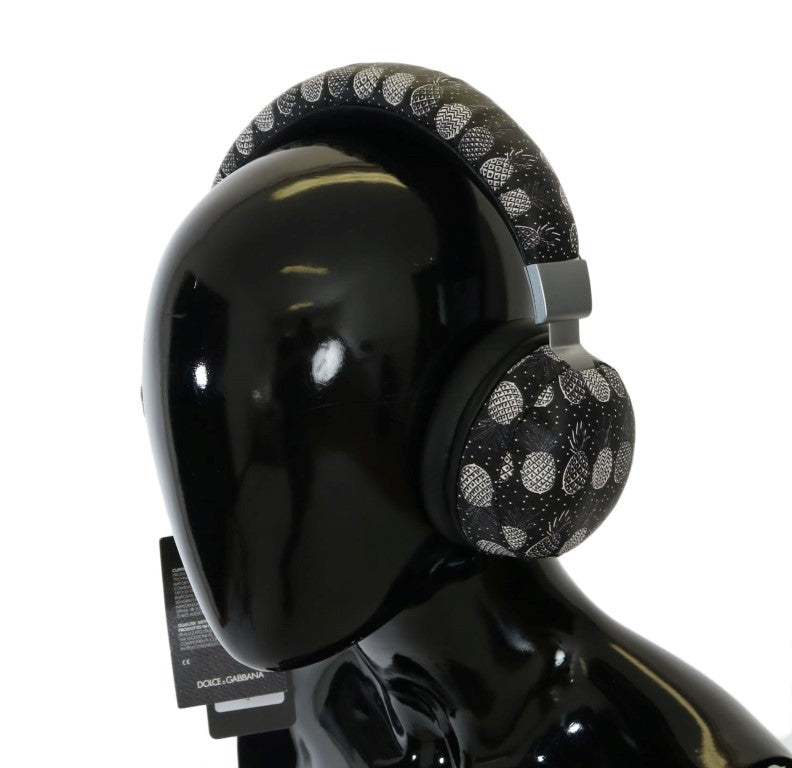 Black Pineapple Print Leather Headphones