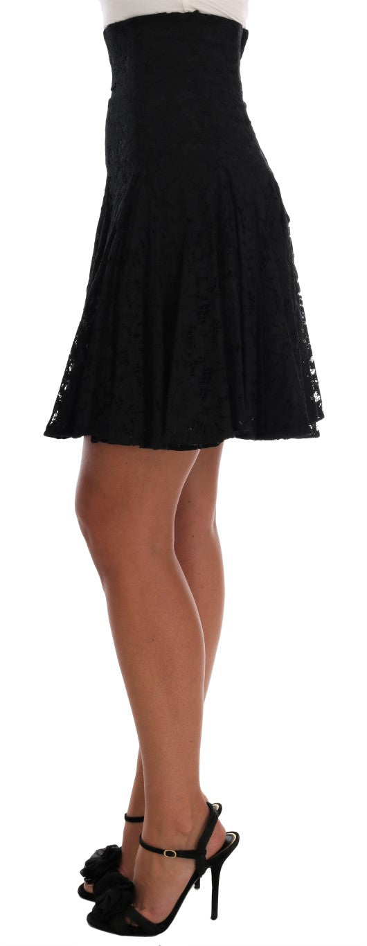 Black Floral Cutout Lace A-Line Skirt