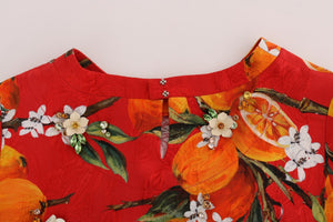 Orange Print Crystal-Embellished Blouse