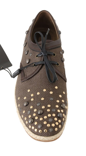 Brown Linen Leather Studded Casual Shoes