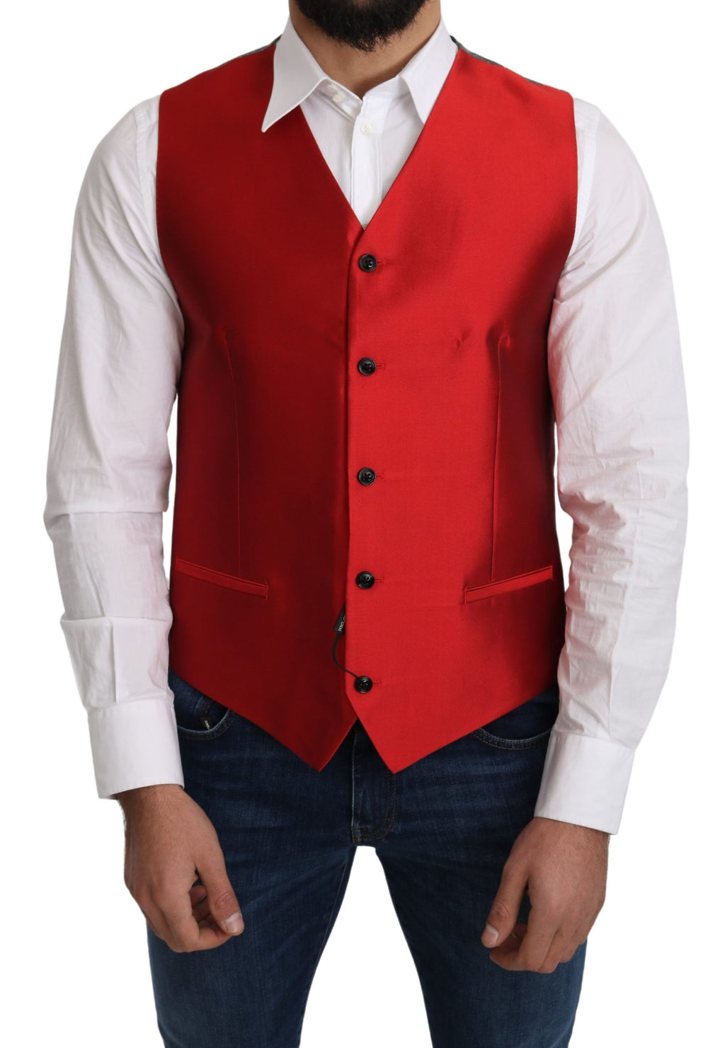 Red 100% Silk Formal Waist Coat Vest