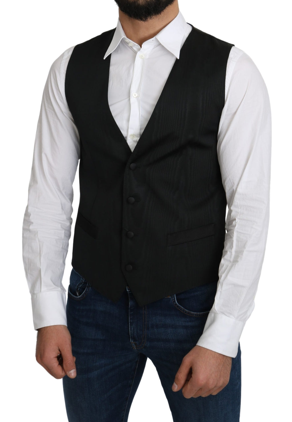 Gray 100% Silk Formal Coat Vest