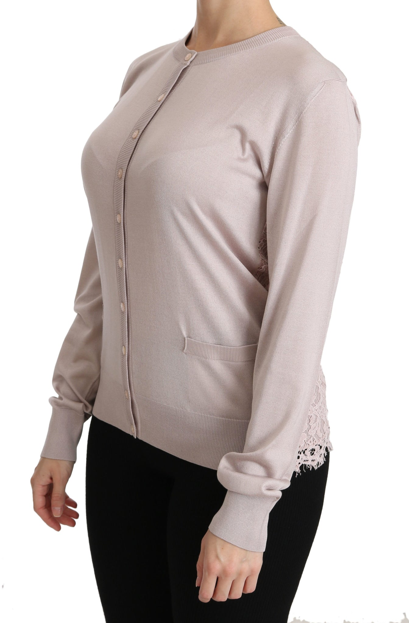Silk Pink Long Sleeve Lace Top Sweater