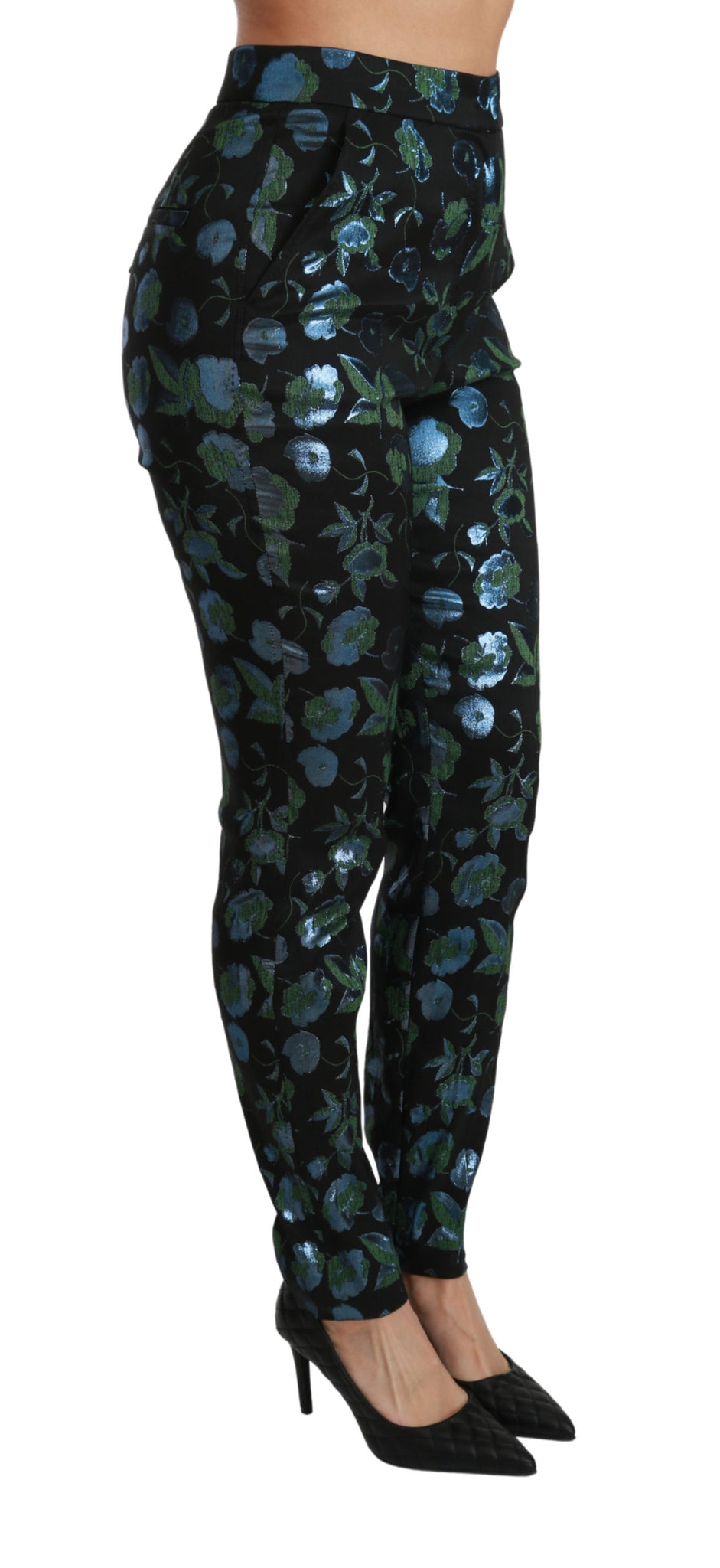 Blue Green Floral Metallic Slim Pants