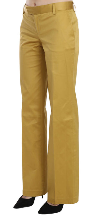 Mustard Yellow Straight Formal Trousers Pants