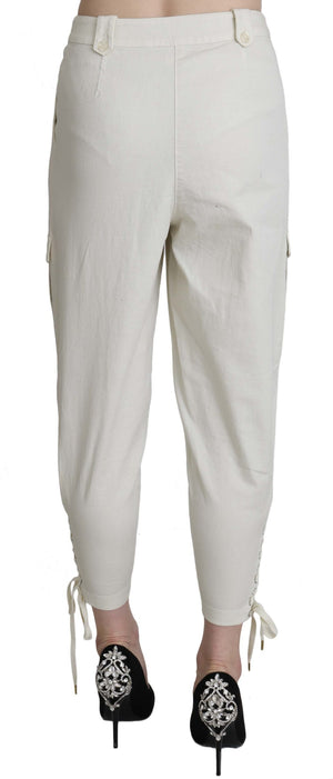 White High Waist Tapered Cropped Trousers  Pants
